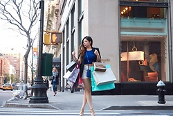 Ophelia Tang - Forever 21 Crop Top, White Shorts, Céline Trio, Bcbg Darron Pumps, Charlotte Russe Blazer - NYC shopping spree