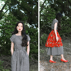 Autumn Kim - Phila Petra Square Neck Gingham Check Dress, Phila Petra Midi Skirt With Tulip - Oh, tulip