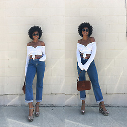 Marquise C Brown - Guess Wrap Tie Crop Top, Levi's® Relaxed Boot Cut Jeans, Banana Republic Suede Shoulder Bag, Steve Madden Snakeskin Platform Wedges - Old Top New Ways