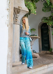 Tijana J.D - Mango Light Blue Denim Jacket, H&M Silver Bag, Mango Turquoise Palazzo Pants, Converse Sneakers - Sintra, Portugal