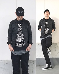★masaki★ - Kollaps Noise Music 実験音楽, Comune Coating Denimjacket, Ramones Hey!Ho!Let's Go!, H&M Layer, Neuw Denim Ray, Converse Allstar - Trash style 137