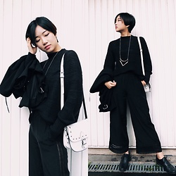 Yueming - Weekday Top, &Other Stories Trousers, Topshop Necklace - All Black