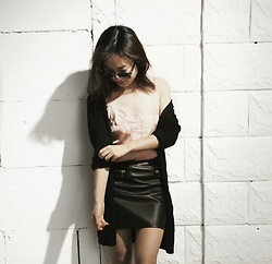Yanyun Du - H&M Satin And Lace Top, H&M Leather Skirt - Dusty pink