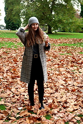 Holly R - Asos Cashmere Beanie, Topshop Duster Coat, Brandy Melville Usa Ribbed 3/4 Length Sleeve Shirt, Topshop Jamie Jeans, Dr. Martens Boots - Autumnal Vibes in Melbourne