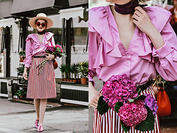 Andreea Birsan - Silk Scarf, Pink Frilled Shirt, Midi Striped Skirt, Pink Embellished Mules, Gucci Belt, Red Crossbody Bag, Straw Boater Hat, Red Cat Eye Sunglasses - Pink mood