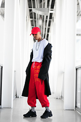 Dominic Grizzelle - Human Condition Lit State Sweats, Forever21 Basic Red Strap Hat - LIt State