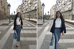 Jelena Dimić - Zaful Blue Stone Necklace, Shein Collarless Cape Blazer, Lavish Alice Crop Top, Shein Color Block Jeans, Doca Bag, Unbranded Shoes - Baby kill it, what you waitin' for?