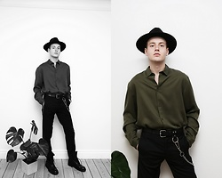 Patrick Pankalla - Weekday Soft Shirt, H&M Fedora Hat, Valentino Trousers, Diesel Leather Boots - Black & Green