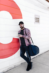 Hugo Filipe - Urban Outfitters Crinkly Nylon Summer Bomber Jacket, Zara Basic Twill Cap, Forever 21 Striped Raglan Shirt, Rains Classic Holdall Men, Zara New Carrot Jeans, Ransom Brohm Lite Shoes - Weekend Traveller