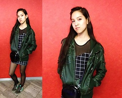 Tram Anh - Vintage Faux Leather Jacket, American Apparel Sweetheart Dress, H&M Patent Bag, Nike Sneaker - Light Black Over Red
