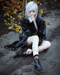 Kimi Peri - Vii & Co. Vegan Leather Jacket, Dr. Martens Vegan Boots, Amazon Cat Tights, Disturbia Siren Longline Cardigan, The Rogue + Wolf Rings, Vii & Co. Fishnet Socks - All Cats On Me