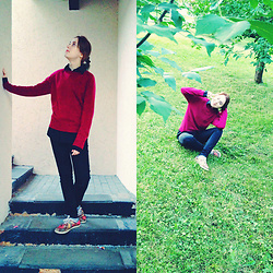 Nell Karasu - New Yorker Black Jeans, Moddis Red Jumper, Ziver Black Shirt, Sneakers With Flower - Simple outfit
