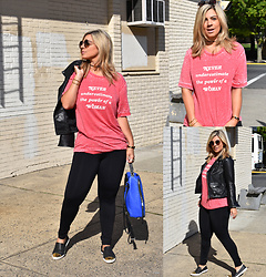 Jaclynn Brennan - Millioneiress Vintage T Shirt, Lulu Lemon Black Leggings, Zara Leather Jacket, Jibs Pointed Toe Slides, French Connection Uk Backpack - Don't Underestimate Me