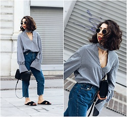 Theoni Argyropoulou - Gingham Top, Zara Shoulder Bag, H&M Gold Pendant, Pull & Bear Sunglasses, Mom Jeans, Mango Slides - Summer-Ready w/ Gingham Trend on somethingvogue.com