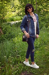 Butterfly Petty - Zaful Jeans, Gamiss Sneakers, Oasap Bag - Embroided jeans
