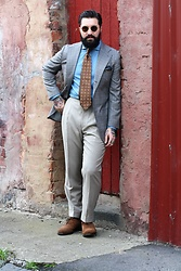 Jared Acquaro - Tbd Eyewear Vicuna, Drakes London Denim Shirt, Alfred Sargent Suede Shoes - The Rake Collaboration