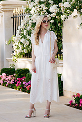 Meagan Brandon - White Dress, Gucci Sandals, Saint Laurent Monogram Chain Wallet - Romantic All-White