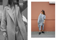 Jade Sheils - Zara Grey Wool Coat, House Of Sunny Canteen Dress, River Island Grey Suit Trousers, Adidas Yeezy Boost 350 - Berlin Street Style