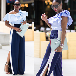 Monica Awe-Etuk - Ruffle Top, Blue Clutch, Track Pants, Square Sunglssses - AWED BY MONICA: SPORTING STRIPES AND RUFFLES