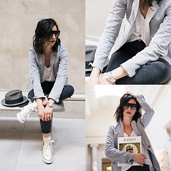 URBAN CREATIVI-TEA - Céline Sunglasses, Giada Forte Blazer, Topshop Jeans, Converse Shoes - MET Casual Look / urbancreativi-tea