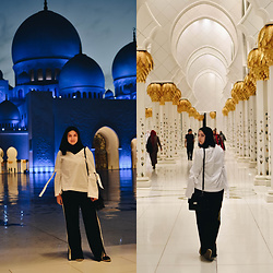 Elizabeth Claire - Whowhatwear White Blouse, Whowhatwear Black Track Pants With Yellow Stripes, Pull & Bear Faux Leather Espadrilles - Sheikh Zayed Grand Mosque