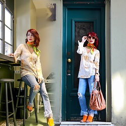 Redhead Illusion by Menia - Asos Sunglasses, Hermès Scarf, Zara Jeans, Louis Vuitton Bag, Zara Mules - Bohemian mood!