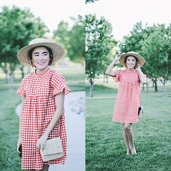 Karissa Marie - Asos Dress, Free People Hat - Red Gingham
