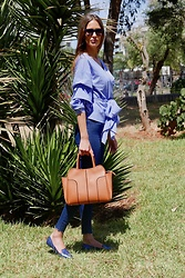 Amina Allam - Marc By Jacobs Sunnies, Zara Crossover Shirt, Zara Jeans, Tod's Sella Bag, Kenzo Shoes - Not without my Sella bag