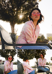 Jazmine Liss - 80spurple Frameless Pink Sunglasses, Pacsun High Waisted Mom Jeans, Jeffrey Campbell Shoes Marble Print Booties, Vintage Pink Kimono Cropped Jacket - Just You