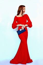 Beauty Mark Lady - Adrianna Papell Blue Clutch, Betsy And Adam Red Dress - Adrianna Papell Red Queen