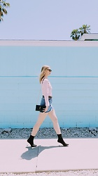 Katie Van Daalen Wetters - Céline Sunglasses, Off The Shoulder Top, Topshop Denim Skirt, Saint Laurent Ysl Wallet On Chain, Public Desire Perspex Heels - California Barbie