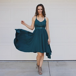 HER. Boutique - Jack By Bb Dakota Juniper Green Gordana Midi Dress, Her. Boutique Skipping Stones Taupe Peep Toe Ankle Booties - Jack By BB Dakota Juniper Green Gordana Midi Dress