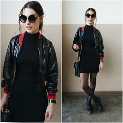 Klaudia - Zara Bomber Jacket, Atmosphere Dress, H&M Boots -  weapons inspection