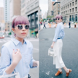 Angela Miuz Chan - Steven Alan Sunglasses, J Crew Shirt, Steve Madden Sandal, Zara Transparent Bag - All about reflective lenses