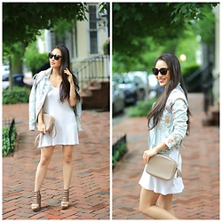 Kimberly Kong - Pinktini Little White Dress, Blanknyc Denim Jacket - Captain of Harbor Style Competition