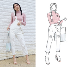 Yonish - Zaful Pink Turtleneck Top, Zaful White Denim Overalls, Forever 21 Clear Perspex Heels - Denim Overalls
