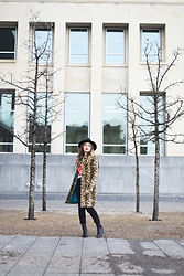 Sandy Joe Karpetz - Guess Leopard Coat, Aldo Black Felt Hat, Rolling Stones T Shirt, Aritzia Black Denim, Alexander Wang Black Leather Boots - Changing Stripes