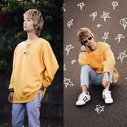 Sean Oshiro - Champion Oversized Sweater, American Apparel Blue Pinstriped Trousers, Forever 21 Sunglasses, Adidas Superstars - Summertime Sweaters
