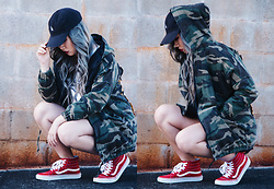 Caitlinaomi - Sausage Skateboards Hat, Wego Top, Vans Sk8 Hi Slim - For Those Cold Summer Nights