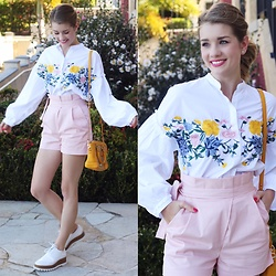 Heidi Landford - Zara Embroidered Top, Zara Pink Shorts, Oroton Yellow Woven Bag, Seed Heritage Bowling Shoes - The Spring Series