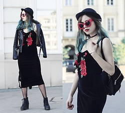 Ola Brzeska - Rosegal Embroidery Slip Dress, Zaful Leather Jacket, Terranova Hat, Zaful Red Sunglasses, Dresslink Velvet Backpack, Altercore Boots - Embroidery slip dress