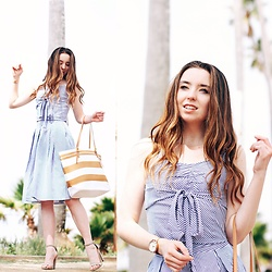 The Indie Girl Fleming - Chic Wish Sweet Breeze Top And Skirt, Cappelli Straworld Striped Straw Tote Bag - LA PLAYA WITH CHICWISH