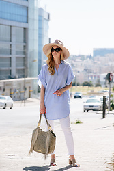 Meagan Brandon - Panama Hat, Striped Tunic, 7 For All Mankind White Jeans, Suede Mules, Brahmin 'Marianna' Tote - Striped Tunic & White Jeans