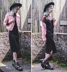 Saskia B. - Zara Pink Perfecto, H&M Midi Dress, Jeffrey Campbell Shoes Coltrane, Morgan Lace Top, Asos Fishnet Tights - Pink.