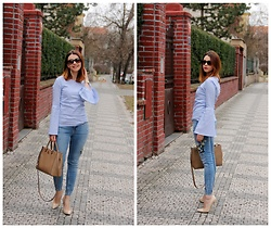 Jana Dishani - Margifashion Shirt, Zara Jeans, Guess Shoes, Michael Kors Bag, Ralph Lauren Sunglasses - Bell sleeves