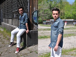 Pawel - Review Jeans Shirt, Diesel White Jeans, Converse American Flag - White jeans and denim shirt/may