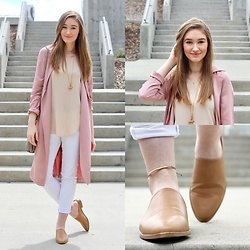 Taylor Doucette - Forever 21 Dusty Rose Duster, Wilfred Cream Tank, Old Navy White Denim, Forever 21 Brown Leather Mules - Malibu- Miley Cyrus