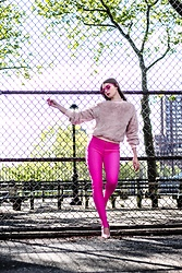 Julia - Shein Sweater, Zara Leggings, Aldo Heels, Noweekends Sunnies - Fluffy & pink