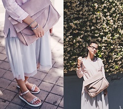 Nika Rema - Zara Bag, Zara Sweater, Zara Skirt, Zara Sandals - Cloudy pink