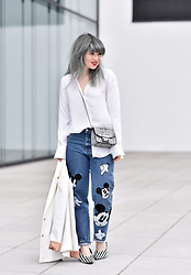 Esra E. - Zara Mom Jeans With Mickey Mouse Patches, Zara Striped Pumps, Furla Metropolis Bag - Mickey